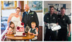 Caroline and Phil, with kids Olivia and Cameron at the wedding, and Scottish Ambulance staff, Connor Melville, holding the cake, with Richard Forte