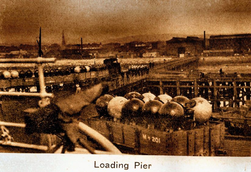 The loading pier at Invergordon.  Picture courtesy of Inverness Local History Forum