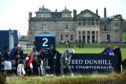Robert MacIntyre of Scotland tees off on the 2nd hole at The Old Course in St Andrews.