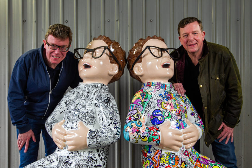 Oor Wullie with The Proclaimers, Charlie and Craig Reid.