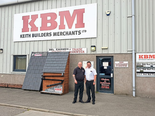 Jeff Smith, right, with Kevin Mitchell., at Keith Builders Merchants