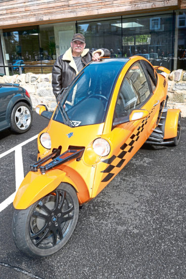 John Campbell from Keith with his 2007 Carver One tilting trike.
