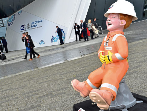 SPE Offshore Europe at P&J Live. Oor Wullie at the front door. Picture by COLIN RENNIE
