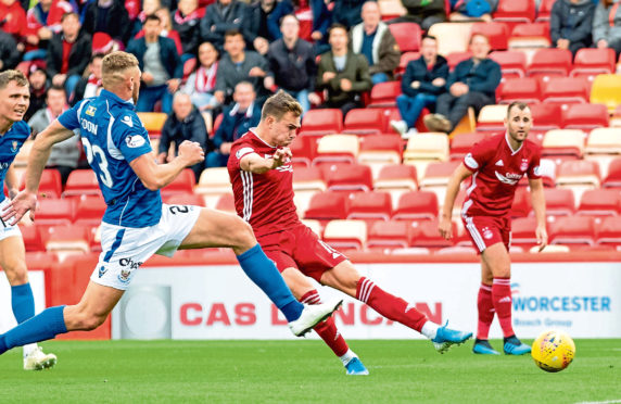 Aberdeen's Ryan Hedges scores to make it 1-0 during the Ladbrokes Premiership match between Aberdeen and St Johnstone