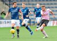 PETERHEAD'S JACK LEITCH HAS A SHOT AT GOAL