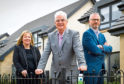Springfield Homes board members Alexander Adam - Chairman, Innes Smith (beard) - Managing Director & Michelle Motion - Finance Director, photographed at the Springfield Homes development in Uddingston, near Glasgow on 20th April 2017.