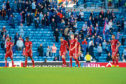 Aberdeen players at full time during the Ladbrokes Premiership match between Rangers and Aberdeen at Ibrox Stadium