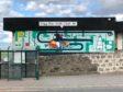 Artist KGM's mural at Nigg Bay Golf Club