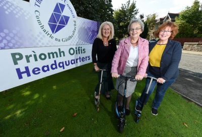 From left, councillors Carolyn Caddick, Trish Robertson and Angela Maclean who their enthusiasm for three-wheeled transport