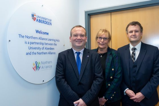 L to R, Laurence Findlay, Interim Lead Officer for the Northern Alliance and Director of Education and Children's Services for Aberdeenshire Council is pictured alongside Catriona MacDonald, Depute Head of the School of Education at the University of Aberdeen and David Gregory who is Senior Regional Advisor for Education Scotland's Northern Team.
