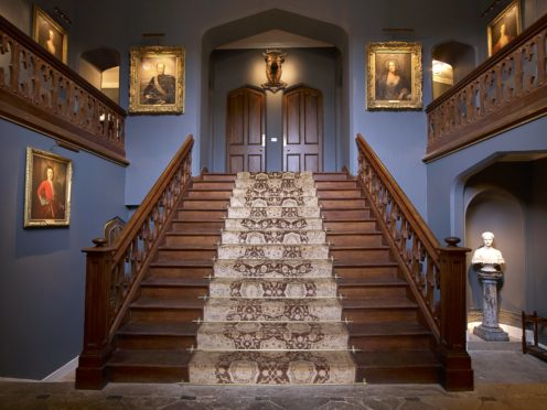 Dunvegan Castle entrance hall and staircase. Part of the 11 year rolling programme of restoration carried out at Dunvegan Castle.