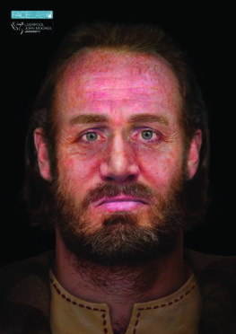 Face of man discovered in six-headed burial recreated.