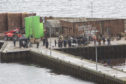 The scene at Lybster Harbour, on Wednesday where the Netflix drama The Crown was being filmed. Photo: Robert MacDonald/Northern Studios