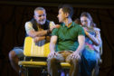 Mark Moraghan as Grandpa, Gabriel Vick as Richard, Lucy O'Byrne as Sheryl, and Evie Gibson as Olive in Little Miss Sunshine