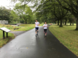 Matthew Milne and Tracey Morris, KWS charity manager, running the final miles.