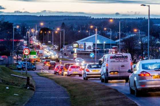 Traffic on the A96 Aberdeen to Inverness road in Elgin.