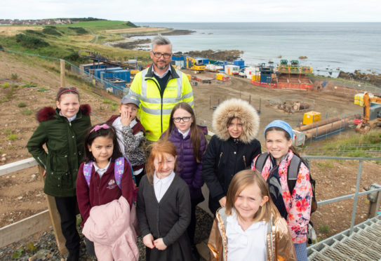 Banff Primary School children visited the point where the cables come to shore at Whitehills.
