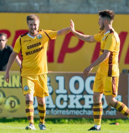 Forres Robert Duncanson celebrates the goal