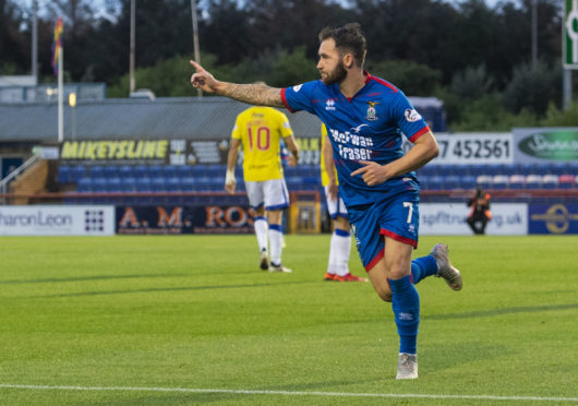 INVERNESS, SCOTLAND - August 30: Inverness' James Keatings celebrates his second goal during the Ladbrokes Championship tie between Inverness CT and Greenock Morton, on August 30, 2019, at Caledonian Stadium, in Inverness. (Photo by Bill Murray / SNS Group)