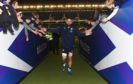 Blade Thomson leaves the field during Scotland's warm up match against Georgia.