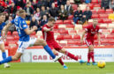 Ryan Hedges scores to make it 1-0 for Aberdeen against St Johnstone at Pittodrie