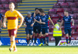 MOTHERWELL, SCOTLAND - SEPTEMBER 21: Ross County's Brian Graham celebrates his equaliser with teammates during the Ladbrokes Premiership match between Motherwell and Ross County at Fir Park on September 21, 2019, in Motherwell, Scotland (Photo by Craig Foy/SNS Group)