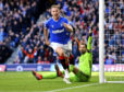 Greg Stewart celebrates after scoring to make it 2-0 Rangers against Aberdeen
