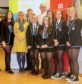 Last year's winning YPI team from St Columba's High School, Gourock with CalMac's Director of HR, Christine Roberts and the Wood Foundation's Deputy Director, Jonathan Christie at the partnership launch.