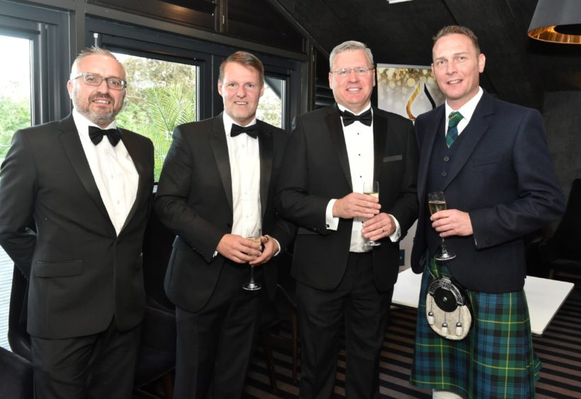 VIP Guests (from left) James Donaldson, Mike Ferguson, Gary Gerrard and Ewan Milne. Picture by COLIN RENNIE