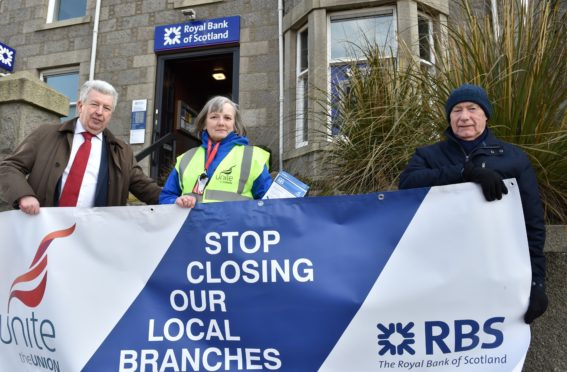 The RBS at Ellon Road, Bridge of Don - MSP Lewis Macdonald with Donna Clark and John McKay. See closure story. Picture by COLIN RENNIE February 23, 2018.