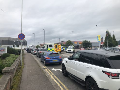 The disruption at the Harbour Road roundabout today. Picture by Chris MacLennan