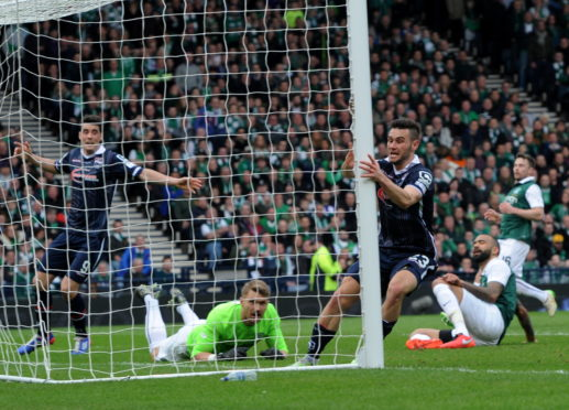 Ross County Alex Schalk scoring the winning goal in the final of the League Cup in March 2016  Picture by KENNY ELRICK