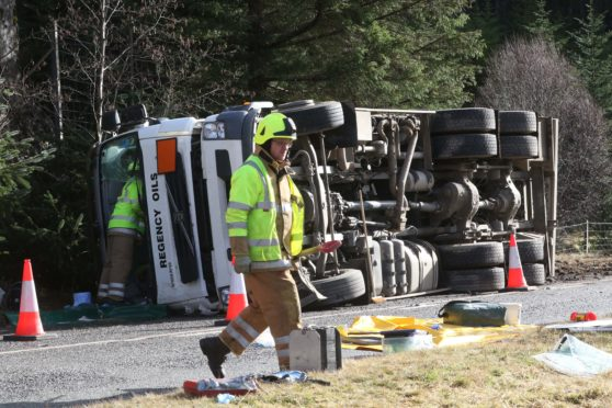 The fuel lorry carrying red diesel overturned on the A87.