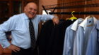 Lord Provost Barney Crockett shows his suits which he buys himself from Ebay and charity shops pictured at Town House, Aberdeen.