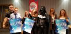 (l-r) Andrew Stewart, Matthew Philip, Vicky Morris, Claire Maycock, Darth Vader, Alana Bowie, and Pauline Grieg show their support for Aberdeenshire's Got Talent.
