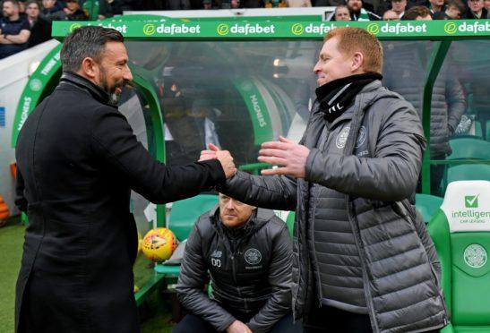 Aberdeen manager Derek McInnes with Neil Lennon.