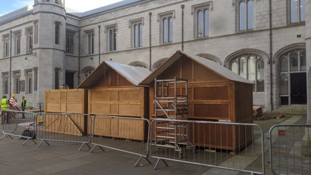 Stalls for the Christmas Market in the quad at Marischal College have already started to arrive.