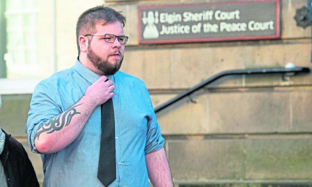 Declan Logan is pictured leaving Elgin Sheriff Court.