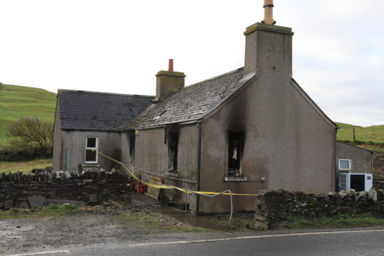 The burnt out cottage belonging to Binscarth farm, Finstown.