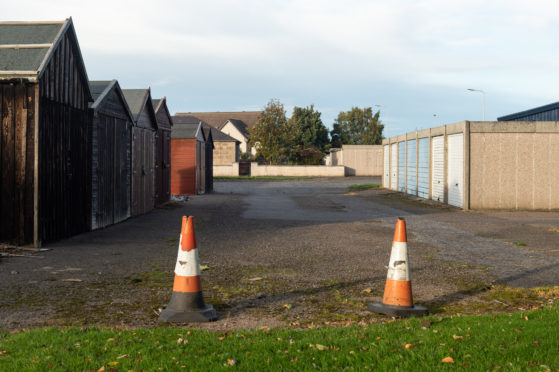 The garages on Pinefield Road in Elgin.