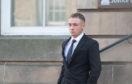 Max Grant leaving Elgin Sheriff Court.