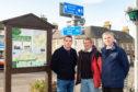 Moray MP Douglas Ross, Cullen Community Council member Stan Slater and Keith and Cullen councillor Donald Gatt.