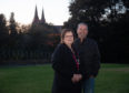 Buckie councillors Sonya Warren and Gordon Cowie in the former rose garden. Picture by Jason Hedges