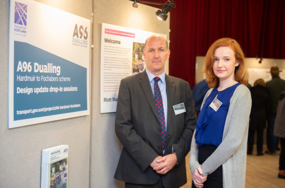 Pictures by JASON HEDGES     Transport Scotland is unveiling updated designs to the proposed A96 dualcarriageway at a public exhibition at Forres Town Hall. Picture: Contracts manager Mike Hodgson and Niamh Callaghan Project Manager for Transport Scotland Hardmuir to Fochabers.  Pictures by JASON HEDGES