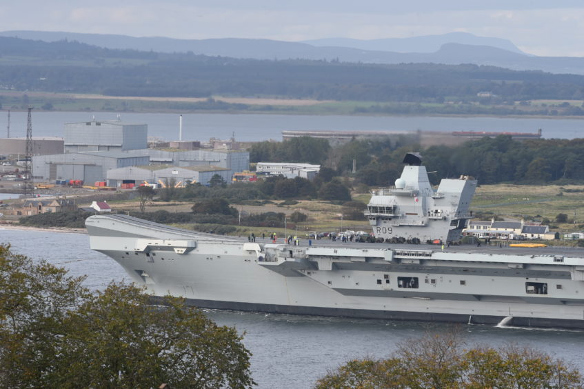 Aircraft carrier Prince of Wales at Cromarty.
