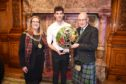The Lord Provost of Glasgow, Eva Bolander with Alisdair Whyte, Gaelic Ambassador of the Year and John Swinney, Deputy First Minister of Scotland, at The Royal National Mod 2019 in Glasgow City Chambers  Picture by Sandy McCook