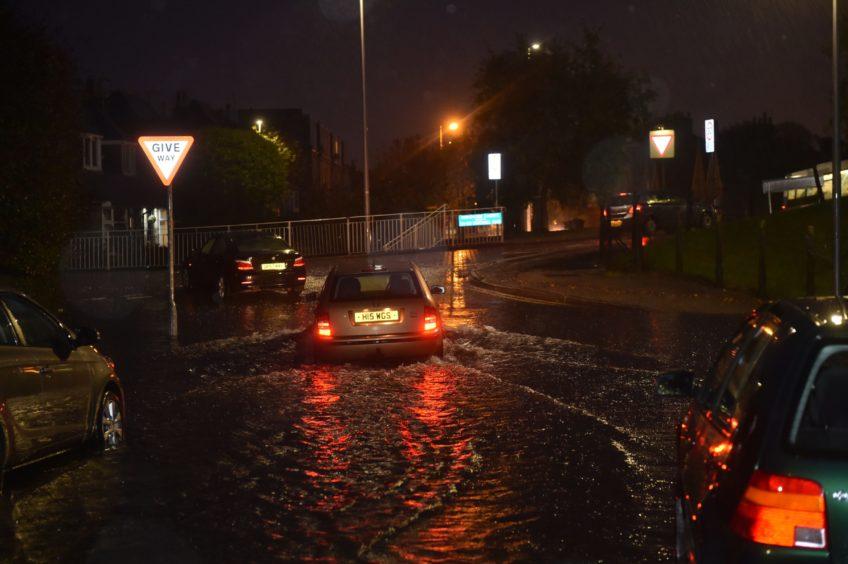Flooding at Broomhill Road, Aberdeen. Scott Baxter.