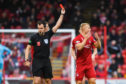 Aberdeen's Curtis Main (R) is sent off by referee Don Robertson during the Ladbrokes Premiership match between Aberdeen and Hibernian