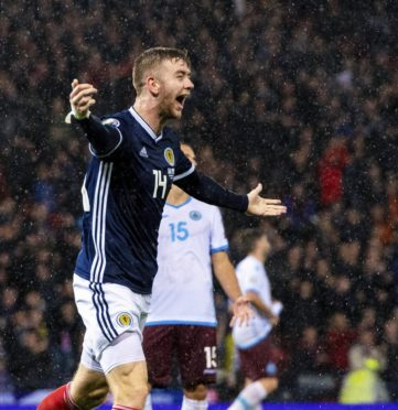 Stuart Findlay celebrates his first Scotland goal against San Marino.