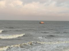 A lifeboat in the sea off Aberdeen during the search. Picture by Mark Mackay